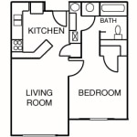 One Bedroom | One Bath 578 sq. ft. $ Call For Pricing