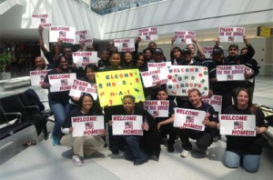 Regional Team Members at BWI Airport to welcome home military personnel